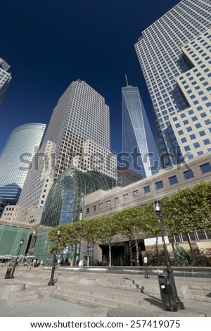 NEW YORK, USA - SEPTEMBER 27, 2014: Freedom Tower in Lower Manhattan. One World Trade Center is the tallest building in the Western Hemisphere and the third-tallest building in the world. - stock photo
