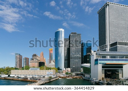 New York, USA - September 20, 2015: View of the world center of Manhattan in New York City from the ferry from Staten Island