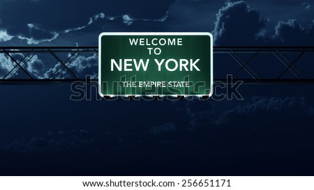 New York USA State Welcome to Interstate Highway Road Sign at Night - stock photo