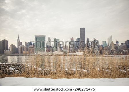 new york winter.Long island city in waterfront park - stock photo