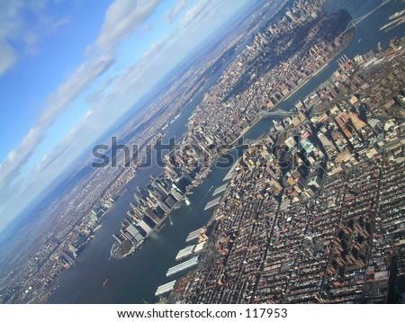 New York, wounded planet - stock photo