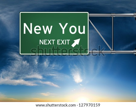 New you next exit, sign depicting a new change in life - stock photo