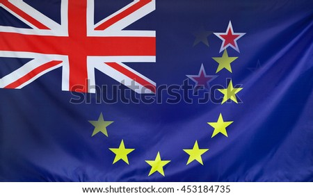 New Zealand and European Union relations concept with diagonally merged real fabric flags - stock photo