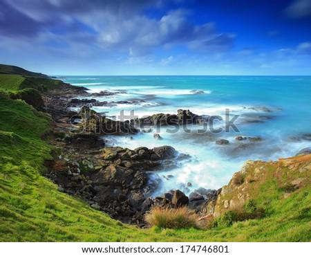 New Zealand beautiful coastline, near Katiki Point, Moeraki Peninsula - stock photo