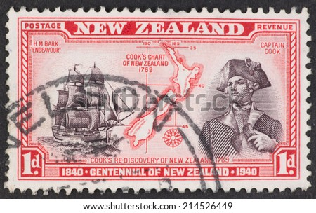 NEW ZEALAND - CIRCA 1940: A Cancelled postage stamp from New Zealand illustrating Centennial of New Zealand, issued in 1940.