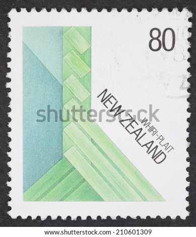 NEW ZEALAND - CIRCA 1987: A Cancelled postage stamp from New Zealand illustrating Fibre Arts, issued in 1987. - stock photo