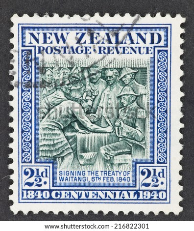 NEW ZEALAND - CIRCA 1940: A Cancelled postage stamp from New Zealand illustrating New Zealand Centennial, issued in 1940.