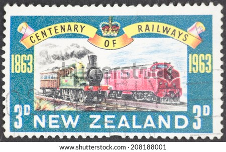 NEW ZEALAND - CIRCA 1963: A Cancelled postage stamp from New Zealand illustrating Railway Centenary, issued in 1963.