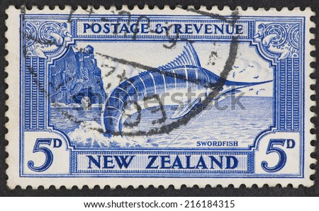 NEW ZEALAND - CIRCA 1935: A Cancelled postage stamp from New Zealand illustrating Swordfish, issued in  1935.