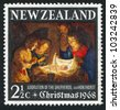 NEW ZEALAND - CIRCA 1968: A stamp printed by New Zealand, shows Adoration of the Holy Child by Gerard van Honthorst , circa 1968 - stock photo