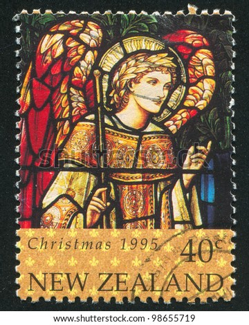 NEW ZEALAND - CIRCA 1995: A stamp printed by New Zealand, shows Christmas and Archangel Gabriel, circa 1995 - stock photo