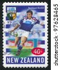 NEW ZEALAND - CIRCA 1999: A stamp printed by New Zealand, shows New Zealand U-Bix Rugby Super, Blues, circa 1999 - stock photo