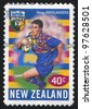 NEW ZEALAND - CIRCA 1999: A stamp printed by New Zealand, shows New Zealand U-Bix Rugby Super, Highlanders, circa 1999 - stock photo