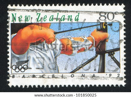 NEW ZEALAND - CIRCA 1992: A stamp printed by New Zealand, shows  shot with a crossbow, circa 1992