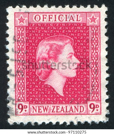 NEW ZEALAND - CIRCA 1947: A stamp printed by New Zealand, shows shows queen Elizabeth II, circa 1947 - stock photo