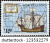 NEW ZEALAND - CIRCA 1992: A stamp printed in New Zealand devoted to 500th anniversary of the discovery of America, shows Ships of Columbus Santa Maria, circa 1992 - stock photo