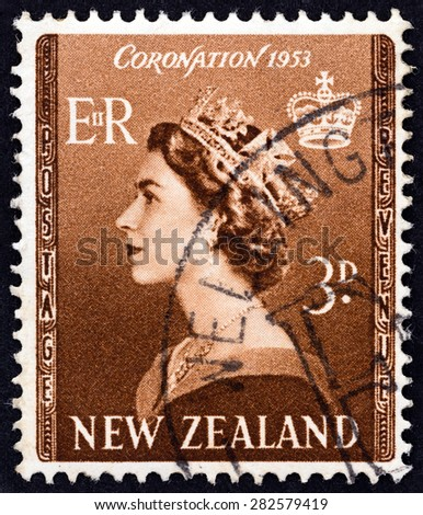 """NEW ZEALAND - CIRCA 1953: A stamp printed in New Zealand from the """"Inauguration of Queen Elizabeth II """" issue shows Queen Elizabeth II, circa 1953. - stock photo"""