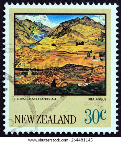 """NEW ZEALAND - CIRCA 1983: A stamp printed in New Zealand from the """"Paintings by Rita Angus """" issue shows Central Otago Landscape, circa 1983.  - stock photo"""