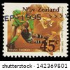 NEW ZEALAND - CIRCA 1995: A stamp printed in New Zealand, is dedicated to the 100th anniversary of Rugby League, shows a game between the Australia - New Zealand (Trans Tasman), circa 1995 - stock photo