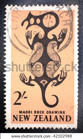 NEW ZEALAND - CIRCA 1964: A stamp printed in New Zealand show image of a Maori rock drawing, series, circa 1964