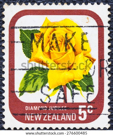 NEW ZEALAND - CIRCA 1975: A stamp printed in New Zealand shows Diamond Jubilee, series devoted to roses, circa 1975 - stock photo