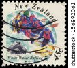 NEW ZEALAND - CIRCA 1994: A stamp printed in New Zealand shows Extreme Sports, White Water Rafting, circa 1994 - stock photo