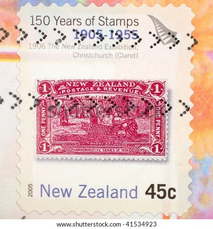 NEW ZEALAND - CIRCA 1955: A stamp printed in New Zealand shows image commemorating Maori art and celebrates 150 years of stamps, series, circa 1955 - stock photo