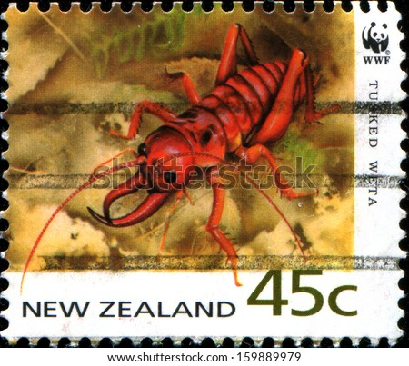 NEW ZEALAND - CIRCA 1993: A stamp printed in New Zealand shows Motuweta - tusked weta, circa 1993  - stock photo