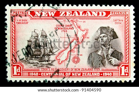 NEW ZEALAND - CIRCA 1940: A stamp printed in New Zealand shows portrait of Captain Cook, circa 1940