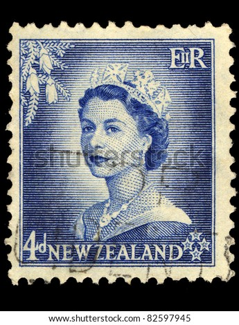 NEW ZEALAND - CIRCA 1953: A stamp printed in New Zealand shows Queen Elizabeth II, circa 1953 - stock photo