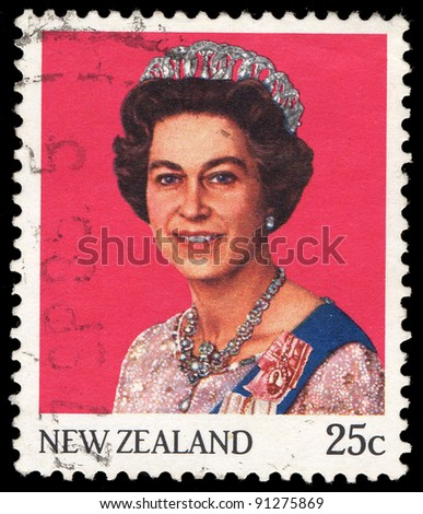 NEW ZEALAND - CIRCA 1985: A stamp printed in New Zealand shows Queen Elizabeth II, circa 1985 - stock photo