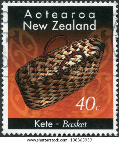 NEW ZEALAND - CIRCA 1996: A stamp printed in New Zealand, shows the basket, handmade indigenous Maori people, circa 1996 - stock photo