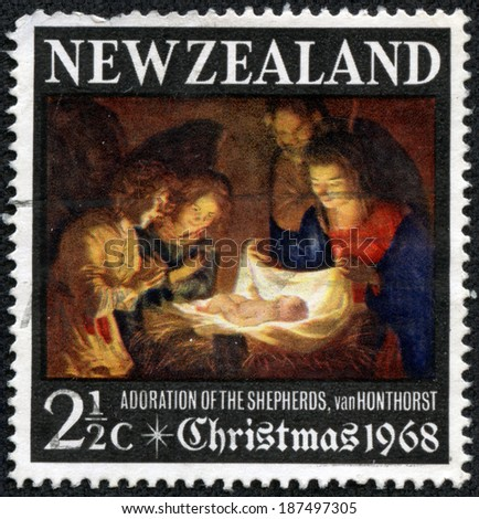 NEW ZEALAND - CIRCA 1968: a stamp printed in the New Zealand shows Adoration of the Holy Child, Painting by Gerard van Honthorst, Christmas, circa 1968 - stock photo