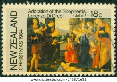 NEW ZEALAND - CIRCA 1984: a stamp printed in the New Zealand shows Adoration of the Shepherds, Painting by Lorenzo Di Credi, Christmas, circa 1984 - stock photo