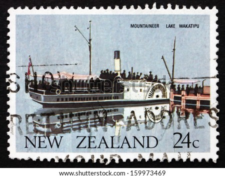 NEW ZEALAND - CIRCA 1984: a stamp printed in the New Zealand shows Ferry Mountaineer, Lake Wakatipu, 1879, circa 1984 - stock photo