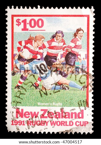 NEW ZEALAND - CIRCA 1991: A stamp shows image of female rugby players, circa 1991 - stock photo
