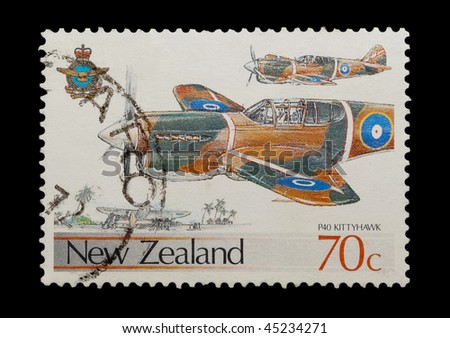 NEW ZEALAND - CIRCA 1987: mail stamp featuring the P40 Kittyhawk fighter aircraft, circa 1987