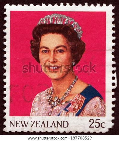 NEW ZEALAND, CIRCA 1965: Queen Elizabeth II on vintage postage stamp, circa 1965 - stock photo