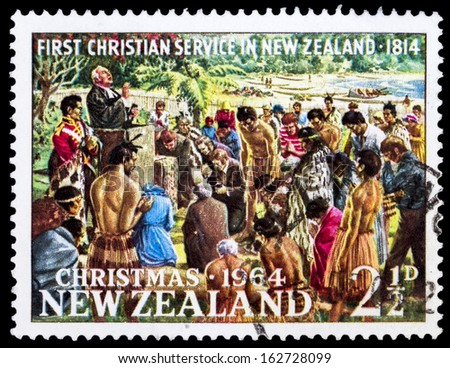 NEW ZEALAND - CIRCA 1964: Rev. Samuel Marsden Conducting First Christian Service, Rangihoua Bay, Christmas, circa 1964 - stock photo