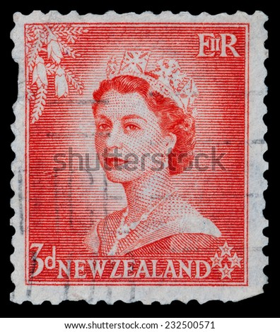 NEW ZEALAND - CIRCA 1950s: A stamp printed in New Zealand showing queen Elisabeth II., circa 1950s - stock photo
