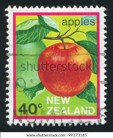 NEW ZEALAND - CIRCA 1982: stamp printed by New Zealand, shows  apple, circa 1982 - stock photo