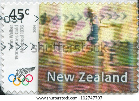 NEW ZEALAND - CIRCA 2004: stamp printed by New Zealand, shows Gold Medalist of Olympic Games in Montreal in 1976 John Walker, circa 2004