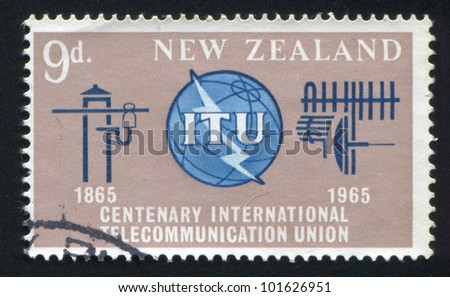 NEW ZEALAND - CIRCA 1965: stamp printed by New Zealand, shows ITU Emblem, Old and New Communication Equipment, circa 1965