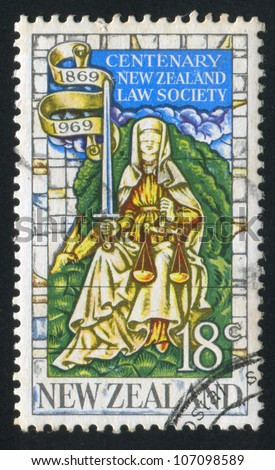 NEW ZEALAND - CIRCA 1969: stamp printed by New Zealand, shows �Justice� from memorial window of the University of Canterbury Hall, Christchurch, circa 1969 - stock photo