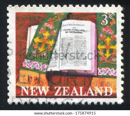 NEW ZEALAND - CIRCA 1968 stamp printed by New Zealand, shows Maori Publication of Bible, circa 1968 - stock photo
