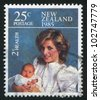 NEW ZEALAND - CIRCA 1985: stamp printed by New Zealand, shows Princess Diana and Prince Henry, circa 1985 - stock photo