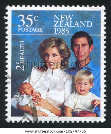 NEW ZEALAND - CIRCA 1985: stamp printed by New Zealand, shows Princess Diana and Princes Charles, William and Henry, circa 1985 - stock photo