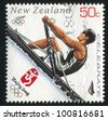 NEW ZEALAND - CIRCA 2008: stamp printed by New Zealand, shows Rower at Sommer Olympics in Beijing, circa 2008 - stock photo