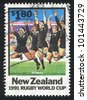 NEW ZEALAND - CIRCA 1991: stamp printed by New Zealand, shows Rugby World Cup, All Blacks, circa 1991 - stock photo