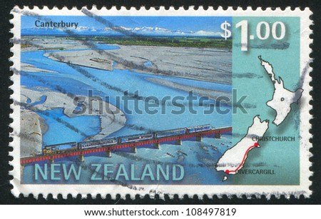 NEW ZEALAND - CIRCA 1997: stamp printed by New Zealand, shows Southerner scenic train, Canterbury, Invercargill-Christchurch, circa 1997 - stock photo